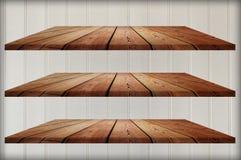 Coleção de prateleiras de madeira Imagem de Stock