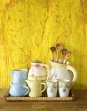 Coleção de pratos do vintage fotografia de stock