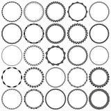 Coleção de quadros decorativos redondos preto e branco da beira em preto e branco com fundo claro Imagem de Stock Royalty Free