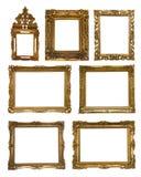 Coleção de quadros dourados Fotografia de Stock
