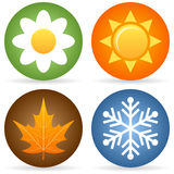 Quatro ícones das estações Imagens de Stock