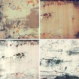 Coleção de quatro imagens quadradas com textura velha oxidada do metal do grunge do vintage, fundo abstrato imagens de stock royalty free