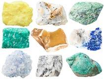 Coleção de rochas e de pedras minerais diferentes Foto de Stock Royalty Free