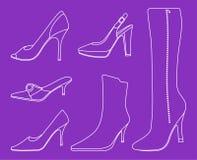 Coleção de sapatas das mulheres Imagens de Stock