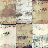 Coleção de seis imagens verticais com textura velha oxidada do metal do grunge do vintage, fundo abstrato foto de stock
