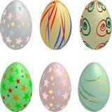 Coleção de seis ovos coloridos pastel de 3D Easter ilustração royalty free