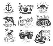 Coleção de selo do vintage das férias de verão Foto de Stock Royalty Free
