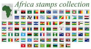 Coleção de selos de África Imagens de Stock