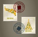 Coleção de selos de porte postal do vintage Fotografia de Stock