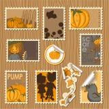 Coleção de selos postais - abóboras Foto de Stock Royalty Free