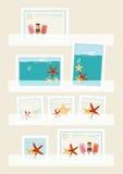 Coleção de selos postais do verão Fotos de Stock Royalty Free