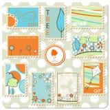 Coleção de selos postais - natureza Fotografia de Stock