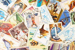 Coleção de selos velhos Imagem de Stock