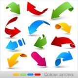 Coleção de setas da cor ilustração stock