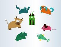 Coleção de sete animais bonitos da exploração agrícola e de animal de estimação Ilustração Stock