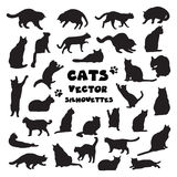Coleção de silhuetas dos gatos do vetor Fotos de Stock Royalty Free