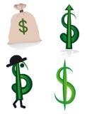 Coleção de sinais de dólar Foto de Stock Royalty Free