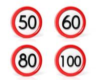 Coleção de sinais de tráfego Fotos de Stock