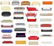 Coleção de sofás isolados Imagens de Stock Royalty Free
