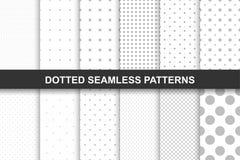 Coleção de testes padrões pontilhados sem emenda simples Fotografia de Stock