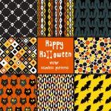Coleção de testes padrões sem emenda do Dia das Bruxas. Foto de Stock Royalty Free