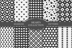Coleção de testes padrões sem emenda dos corações Dia feliz dos Valentim Fotos de Stock