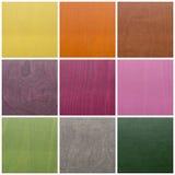Coleção de texturas de madeira coloridas Fotos de Stock