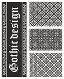 Coleção de texturas florais góticos sem emenda Fotos de Stock