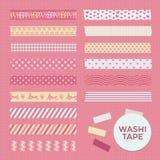 Coleção de tiras modeladas bonitos da fita de Washi Imagens de Stock