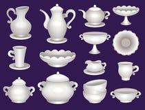 Coleção de utensílios de mesa da porcelana Imagens de Stock Royalty Free