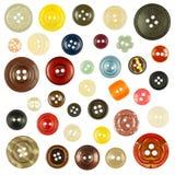 Coleção de vários botões no fundo branco Imagem de Stock