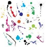 Coleção de vários símbolos do splatter da tinta Fotografia de Stock