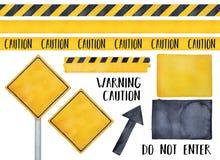 Coleção de vários sinais de aviso, de fitas sem emenda do cuidado, de mensagens de texto e de símbolos do attension ilustração royalty free
