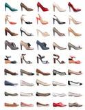 Coleção de vários tipos de sapatas fêmeas Foto de Stock Royalty Free