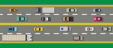 Coleção de vários veículos Estrada da vista superior ilustração royalty free