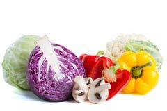 Coleção de variedades diferentes de couve e de legumes frescos Foto de Stock Royalty Free