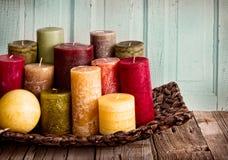 Uma coleção de velas decorativas Fotografia de Stock