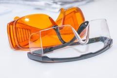 Coleção de vidros de segurança para o paciente outro, equipamento da saúde para impedir a infecção transversal Dentista Clinic pr imagens de stock royalty free