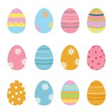 Coleção decorada bonito dos ovos da páscoa ilustração do vetor