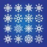 Coleção decorativa do ícone dos flocos de neve Fotografia de Stock