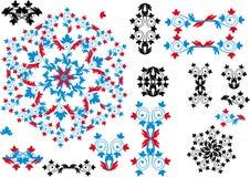 Coleção decorativa do preto, a vermelha e a azul dos elementos Foto de Stock Royalty Free