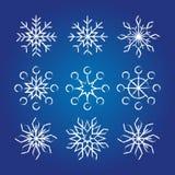 Coleção decorativa dos flocos de neve Foto de Stock Royalty Free