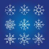 Coleção decorativa dos flocos de neve Fotografia de Stock Royalty Free