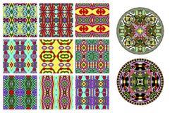 Coleção decorativa floral do teste padrão à impressão da tela Imagem de Stock