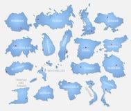 Coleção detalhada dos países Imagens de Stock Royalty Free