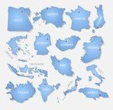 Coleção detalhada dos países Foto de Stock Royalty Free