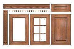 Coleção dianteira de portas de madeira, gaveta, coluna, cornija para o armário de cozinha imagem de stock