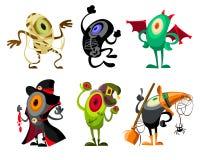 Coleção diferente do Dia das Bruxas dos desenhos animados fotos de stock