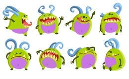 Coleção diferente dos monstro dos desenhos animados imagens de stock