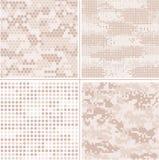 Coleção digital da camuflagem do pixel do vetor sem emenda - urbana, deserto, selva, grupo do camo da neve ilustração royalty free